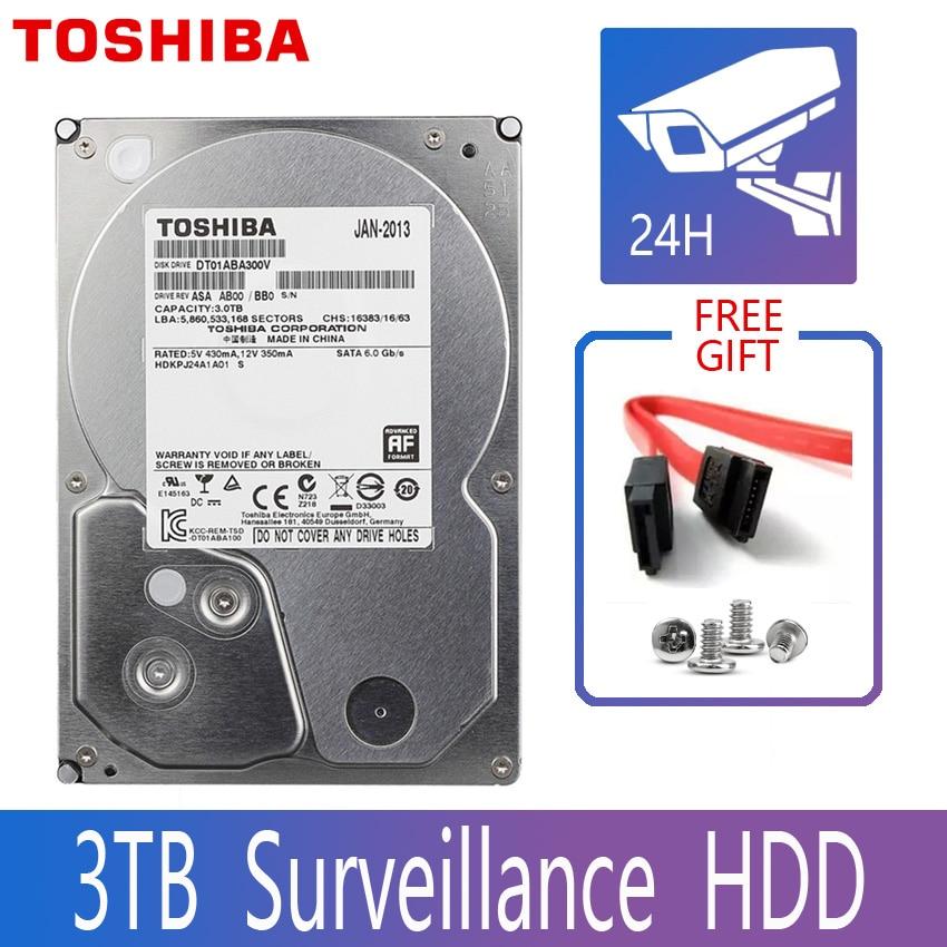 TOSHIBA 3TB Monitor Surveillance Hard Drive Hisk HDD Harddisk DVR NVR CCTV 3000GB HD Internal SATA