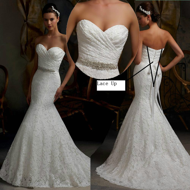 2015 New Lace Mermaid Wedding Dresses Vintage Bridal Dress Sexy Train Vestidos De Noiva Long Sweetheart bride Dress Strapless