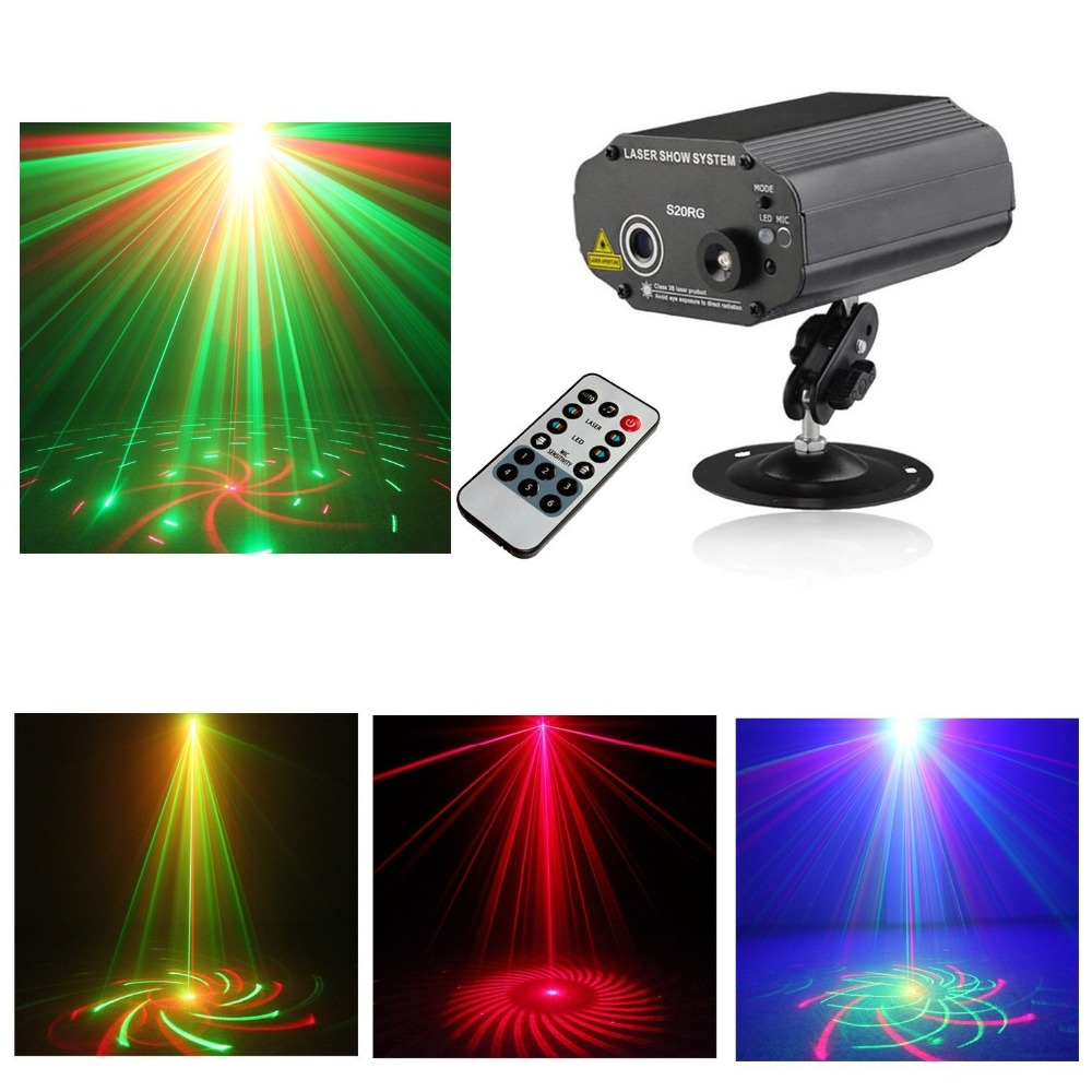 ФОТО Tomoral Mini Remote 20 IN 1 Gobo RGB Led Blue Stage Laser Lighting Sound Active Equipment Effect Disco DJ Light Home Party Light