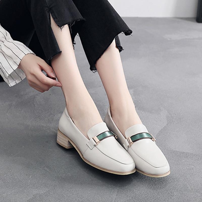D'été Other De Mocassins Chaussures En beige Printemps Color Femmes Femme Slipon Like black You Oxford Véritable Simples 2019 Baskets Dames Pour Cuir PvmywOn80N