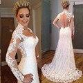 Elegant White Sweetheart Neckline Full Sleeve Mermaid Chiffon Beach Wedding Dress With Straps 2016 New