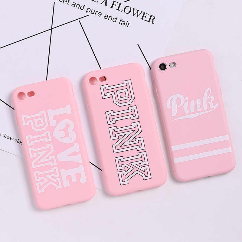 Luxury PINK Brand tpu case Fashion Hot Cute Pink Case for iPhone XS X 7 Plus 7 8 Plus 6 6s Plus XS MAX case for Phone XR case