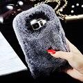 Настоящее Мех Кролика Случай Для Samsung Galaxy S7 S7 Edge Deluxe роскошные Симпатичные Волосы Bling Алмазная Обложка Для Galaxy S7 S7 Edge Fundas