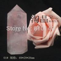 Natural crystal pillars pink crystal ornaments pillar single tip column