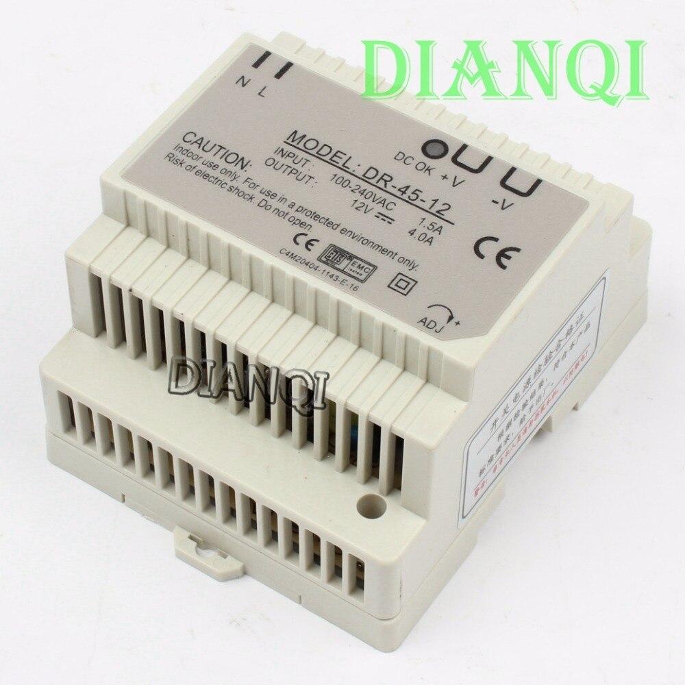 все цены на DIANQI Din rail power supply 45w 12V power suply 12v 45w  ac dc converter dr-45-12 good quality онлайн