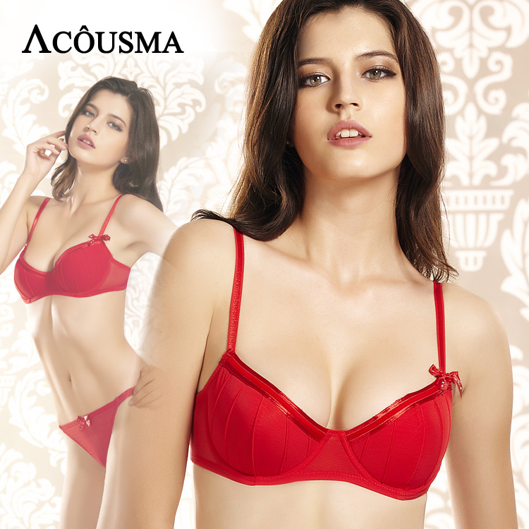 ACOUSMA Comfortable Women Sexy   Bra     Set   3/4 Cup Push Up Female Red Brassiere Panties Lingerie   Sets   Rhinestone Bowknot Decoration