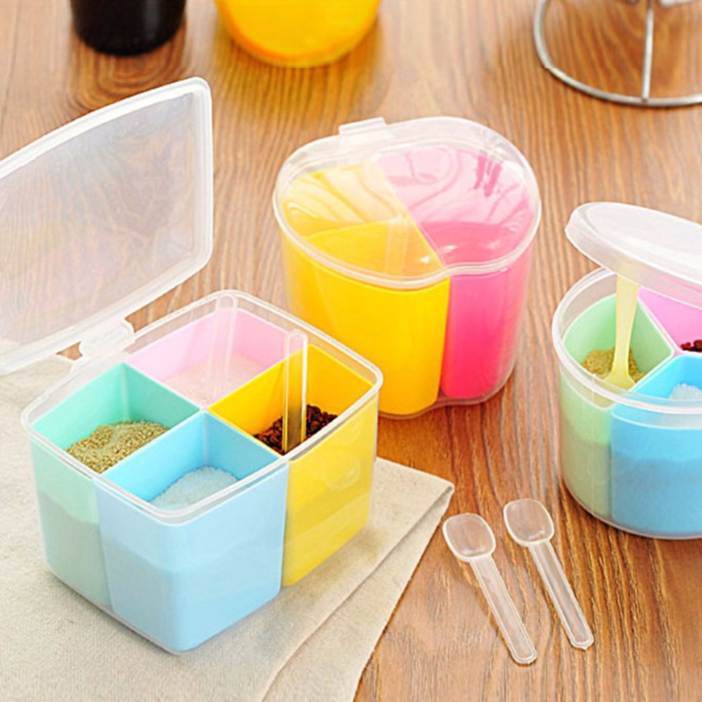 online get cheap modern kitchen canisters aliexpress com 2017 new removable kitchen tools plastic 4 grids salt spice seasoning storage box detachable spices container canister