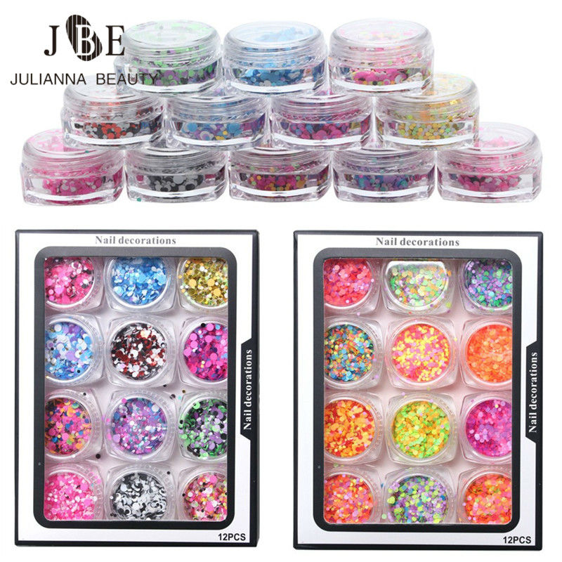 12pcs/Set Nail Glitters Powder Shiny Sequins Charms 1mm/2mm/3mm Nail Sequins Design Manicure Nail Decoration DIY Nail Art 24 bottles 3d colorful shiny nail glitter powder sequins manicure festival nail art decorations for women
