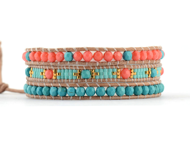 Exclusive Stone Coral with Selected Glass Beads Wrap Bracelets Beading Pattern Bohemian Leather Bracelet Dropshipping