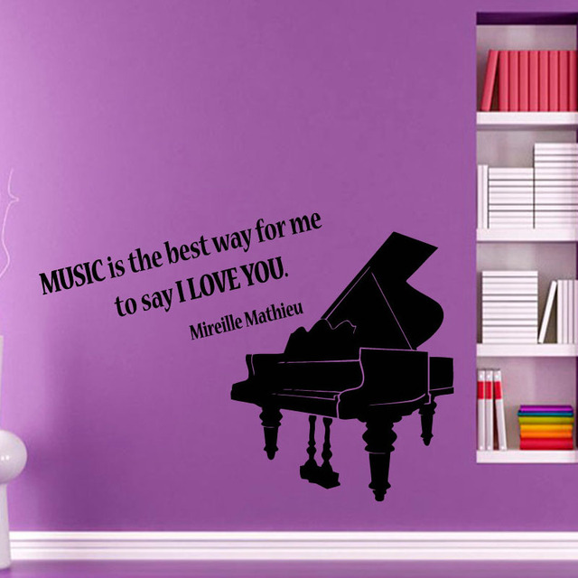 Online Shop Piano Wall Decals Quote Music Is The Best Way For Me ...