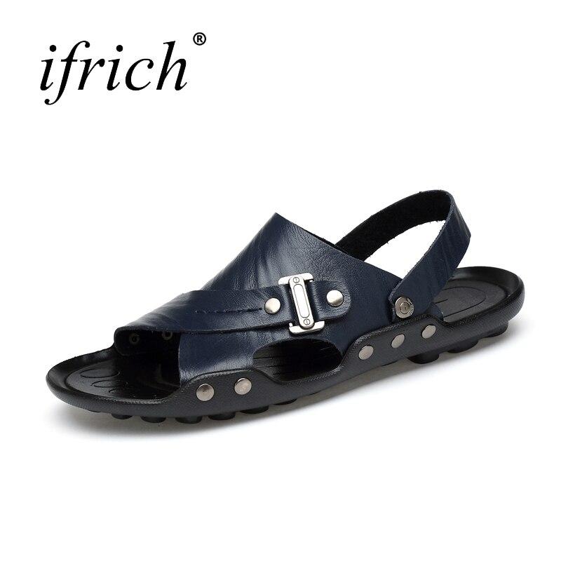 Mens Sandals Rubber Bottom Summer Shoes Large Sizes 38-47 Outdoor Sandals Mans Black White Leather Summer Shoes for Man Black