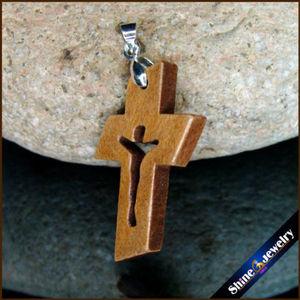 Image 3 - 100 Uds nuevas cruces de madera Natural tallado Jesús crucifijo cruz & Clip Bail Charm colgantes estatua escultura joyería para collar
