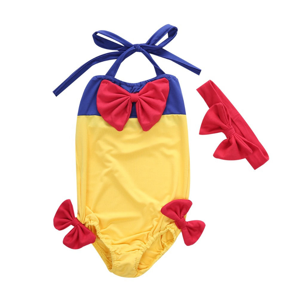 Kids Girls Bikini Swimwear Snow White Swimming Bathing Suit Swimsuit Sets 2-7Y