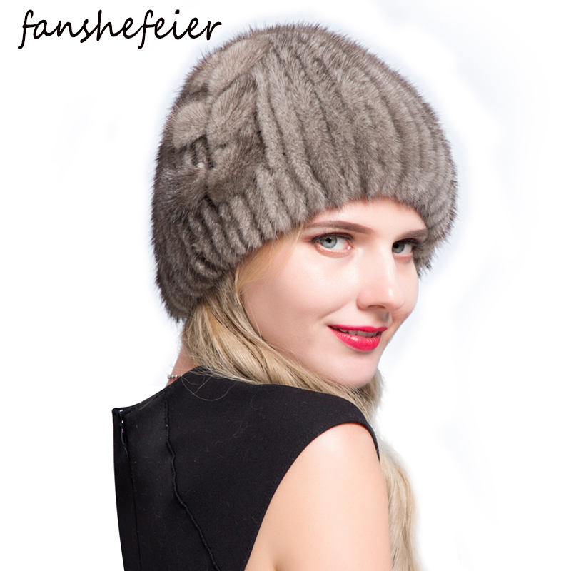 Fanshe New Good Quality Fur Hat Thick Warm Cap Of Fur Winter Fur Hat For Women Real Natural Mink Fur Beanies Knitted Mink Hat
