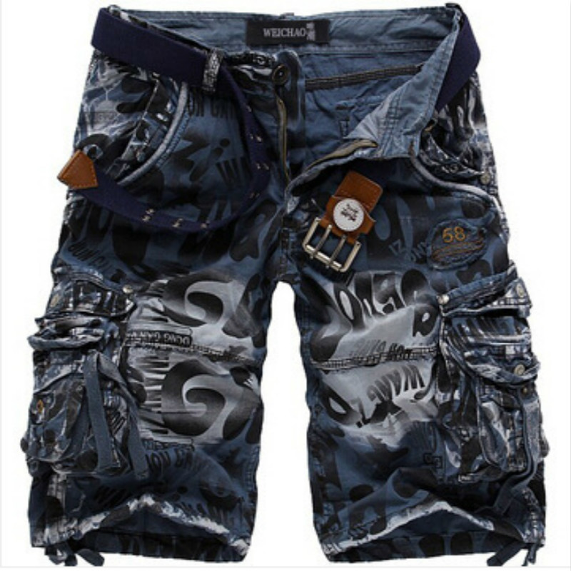 mens summer men cargo pants multi pockets men's casual fashion loose trousers cotton pants camouflage
