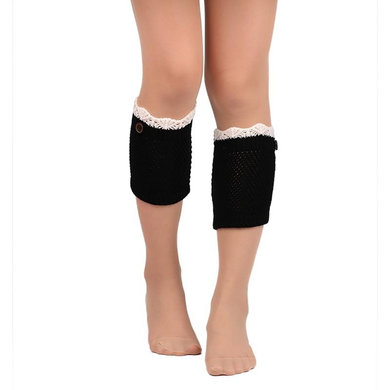 Women Leg Warmers Autumn Winter Buttons Short Hollow Boot Cuff Calentadores Piernas Knitting Boot Socks