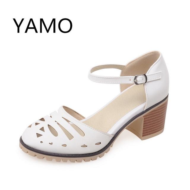 Estilo de verano de las mujeres zapatos de tacón grueso de tacón chunk mary jane zapatos de punta cerrada tacones blancos de la boda de las mujeres de los zapatos ocasionales-outs