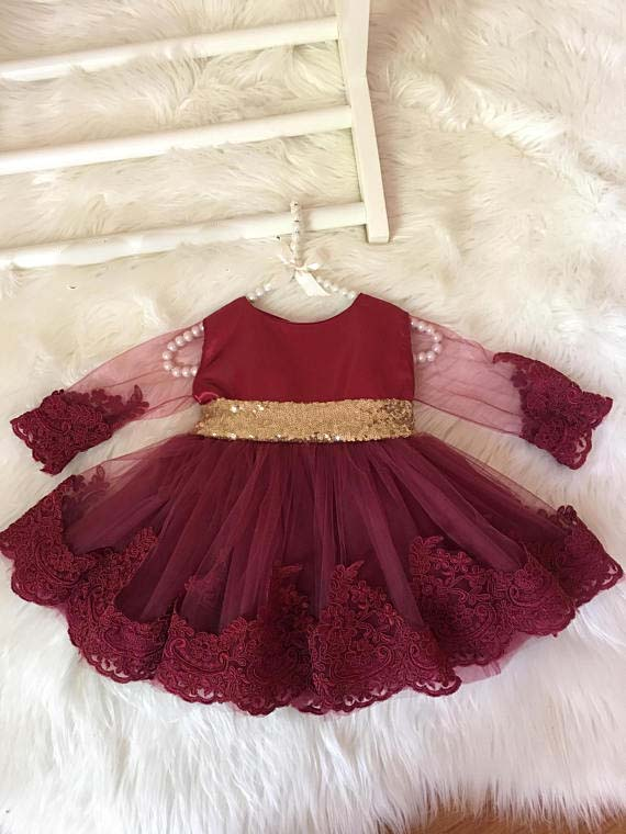 Sheer long sleeves knee length burgundy baby girl 1st birthday dress with golden sequins bow and sash toddler party dance gown цена
