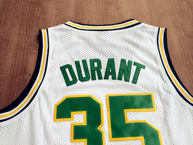 f2b67f4063a Seattle Supersonics #34 Ray Allen #35 KD Kevin Durant White Throwback Retro  Vintage Basketball jersey,Embroidered Logos-in Basketball Jerseys from  Sports ...