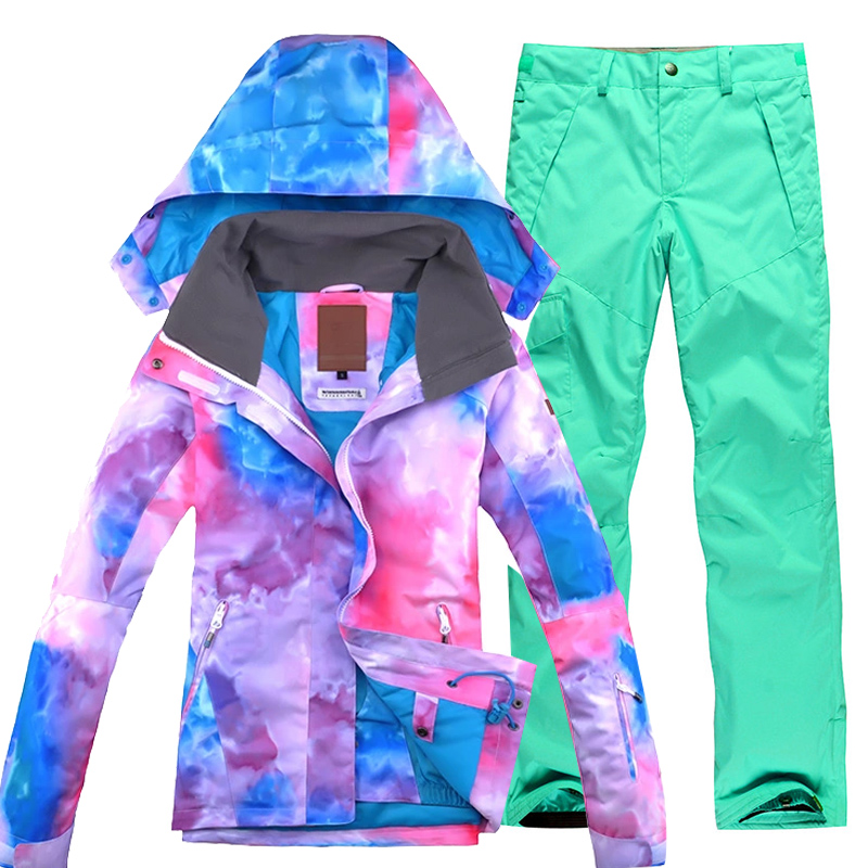 Women Ski Suit Multicolor Snowboard Outdoor Sport Wear Skiing Jacket+Pants Camping Riding Super Warm Clothing Set