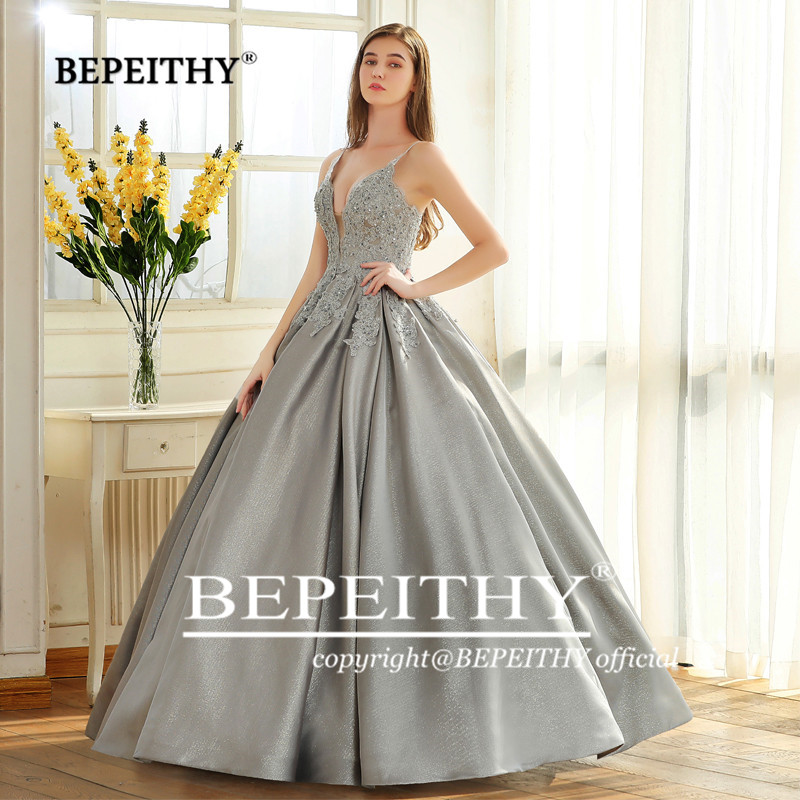 Image 4 - BEPEITHY Robe De Soiree Ball Gown Evening Dress Spaghetti Straps 2019 Lace Bodice Glitter Fabric Abiye Prom Party Gown-in Evening Dresses from Weddings & Events