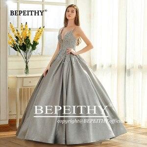Image 4 - BEPEITHY Robe דה Soiree כדור שמלת שמלת ערב ספגטי רצועות 2020 תחרה מחוך נצנצים בד העבאיה לנשף מסיבת שמלה