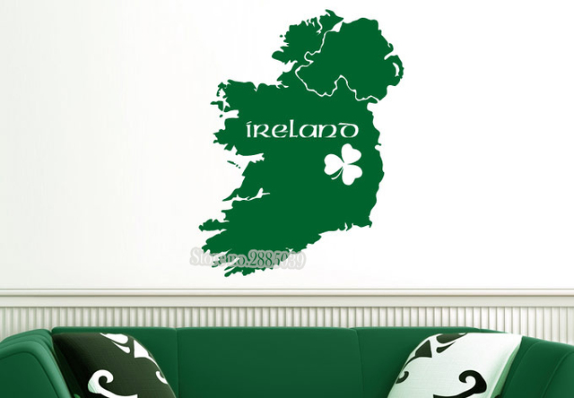 Newly arrivals ireland map decal art wall vinyl living room bedroom decor in different colors wallpaper