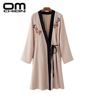 OMCHION Womens Tops And Blouses 2017 Floral And Tiger Embroidery Long Kimono V Neck Long Sleeve