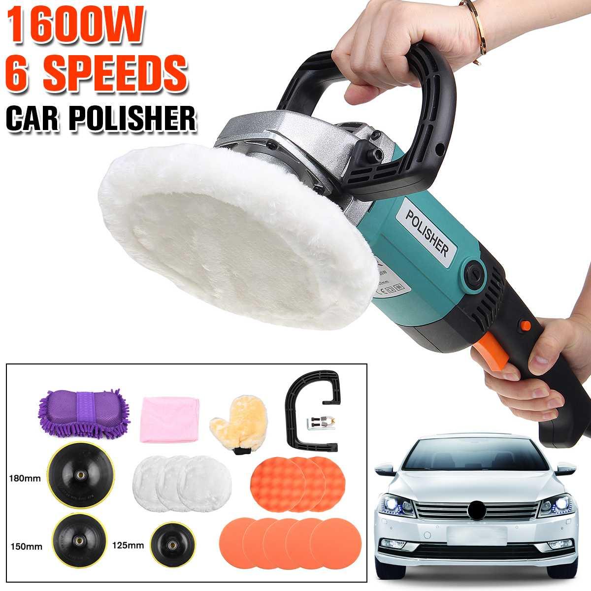 17Pcs/Set Car Wax Polisher 1600W Variable Speed 3000rpm Car Paint Care Tool Electric Polishing Machine Sander 220-240V