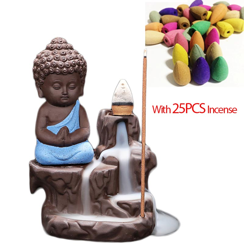 25PCS Incense Cone + Blue Buddha Incense Burner Home Decor Cute Monk Buddha Purple Clay Censer Backflow Aroma Stick Incense Base