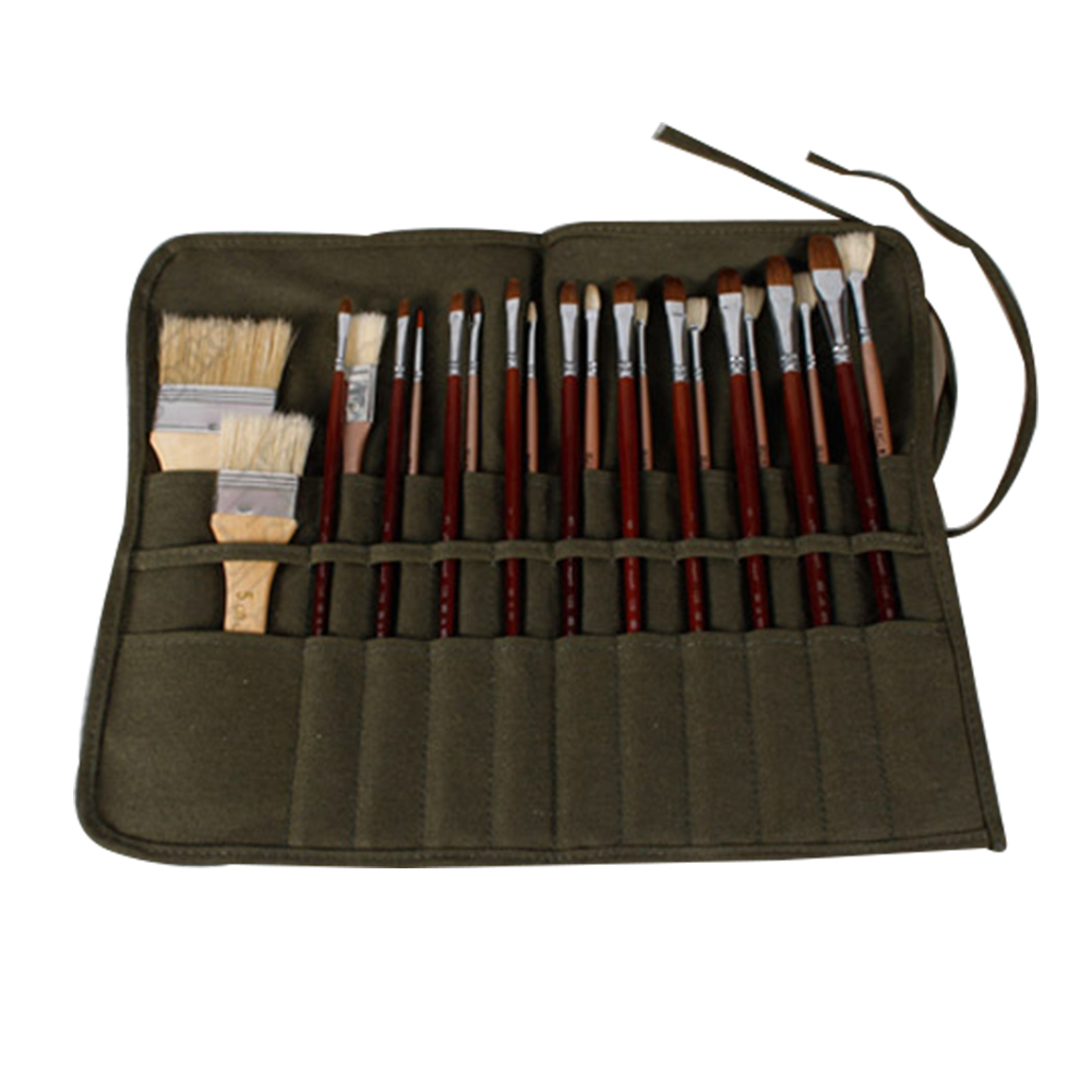 Brush Storage For Oil Watercolor Pen Art Supplies For Artists Paint Stationery Army Green Canvas Pouch Paint Brush Bag