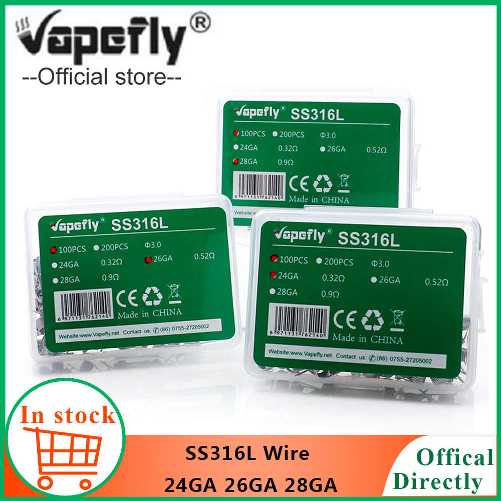 Vapefly  heating wire SS316L Wire premade ss316L 24GA 26GA 28GA Coils for E cigarette RDA RDTA RTA atomizer DIY Vape Tools