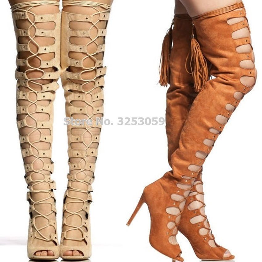 все цены на ALMUDENA Women Chic Nude Brown Black Studded Tassel Tall Boots Thigh High Cut-out Fringe Tassel Boots Open Toe Thin High Heels онлайн
