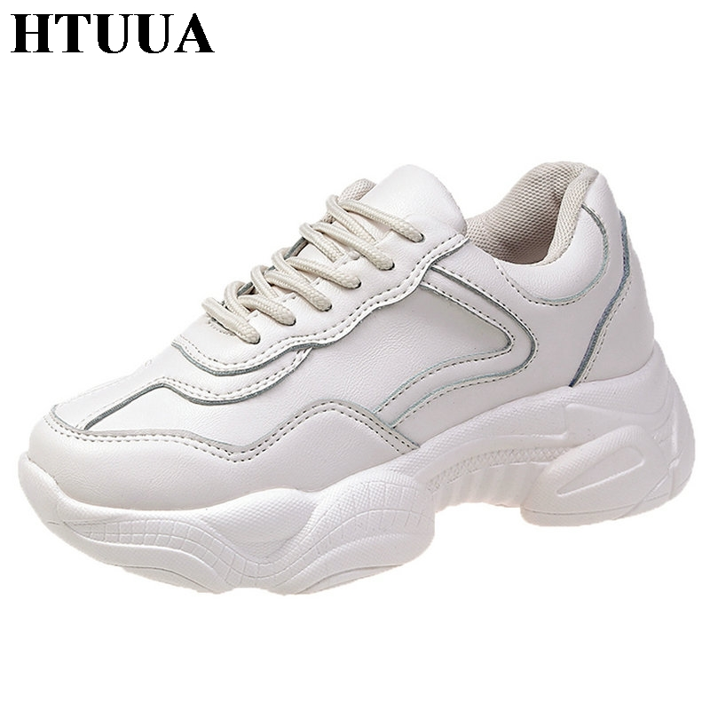 HTUUA Height Increasing 5CM Black White Sneakers Women Casual Shoes Woman Chunky Platform Sneakers Outdoor Walking Shoes SX3030(China)