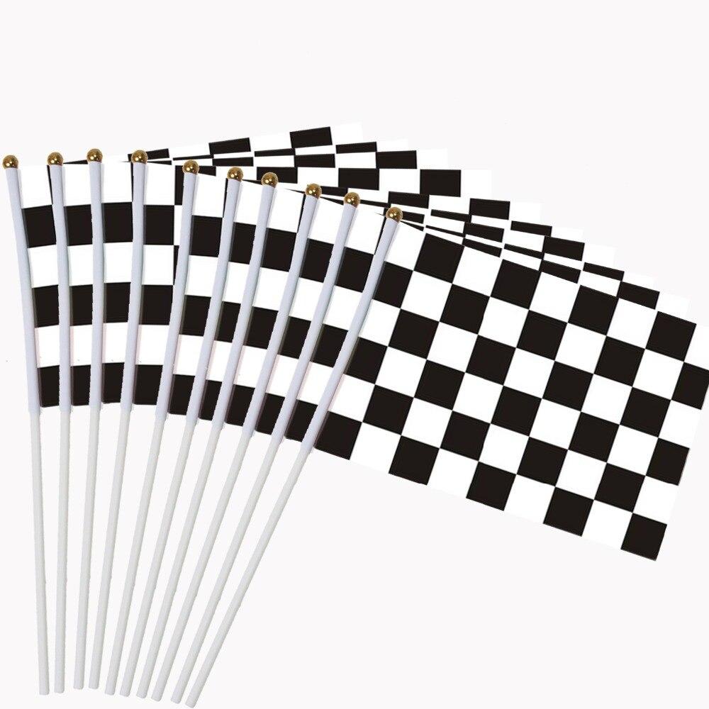 10 Stücke Checkered Racing Lager Auto Flagge 14*21 Cm Handheld Mini Flagge Mit Weiß Pole Lebendige Farbe Und Verblassen Beständig Hand Gehalten GroßE Sorten