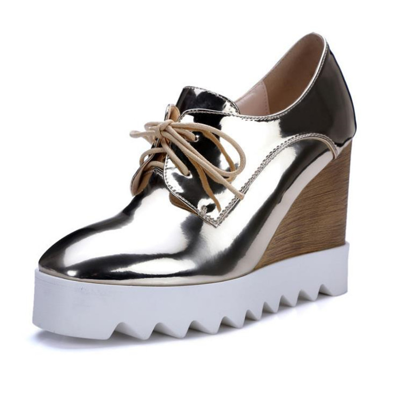 2017 Fashion Patent Leather Oxfords 2017 Wedges Gold Silver Platform Shoes Woman Casual Creepers Pink High Heels High Quality bling patent leather oxfords 2017 wedges gold silver platform shoes woman casual creepers pink high heels high quality hds59