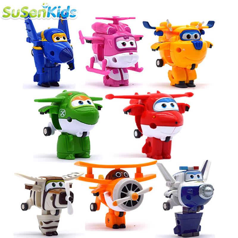 SuSenGo Super Wings Mini Planes Deformation Airplane Robots Action Figures Transformation Children Christmas Gifts 15 cm jimbo super wings mini airplane abs robot toys action figures super wing transformation jet animation children kids gift