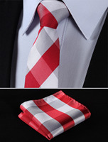 TC4029R7 Red White Check 2 75 100 Silk Woven Slim Skinny Narrow Men Tie Necktie Handkerchief