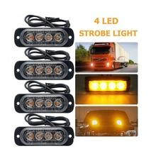 цена на 10pcs 4Led Car Truck Emergency Light Flashing Firemen Lights 18W Car-Styling Ambulance Police Light Strobe Warning Light 12V-24V