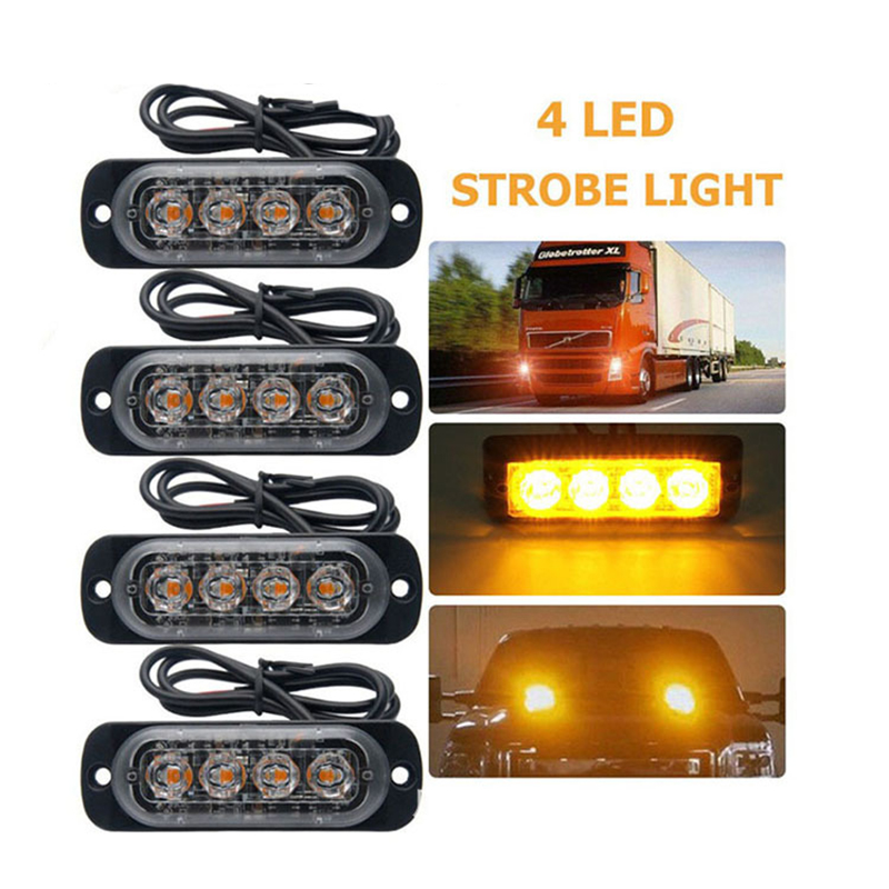 4 LED Car Truck Car-Styling Bright White Yellow Red Blue Amber Van Beacon Strobe Warning Flashing Emergency Grille Police Light