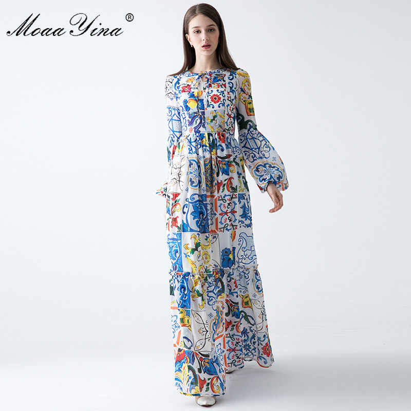 98e1f4873de2 ... MoaaYina 2018 Fashion Designer Runway Maxi Dress Spring Women Lantern  sleeve Floral Print Bohemia Casual Holiday ...