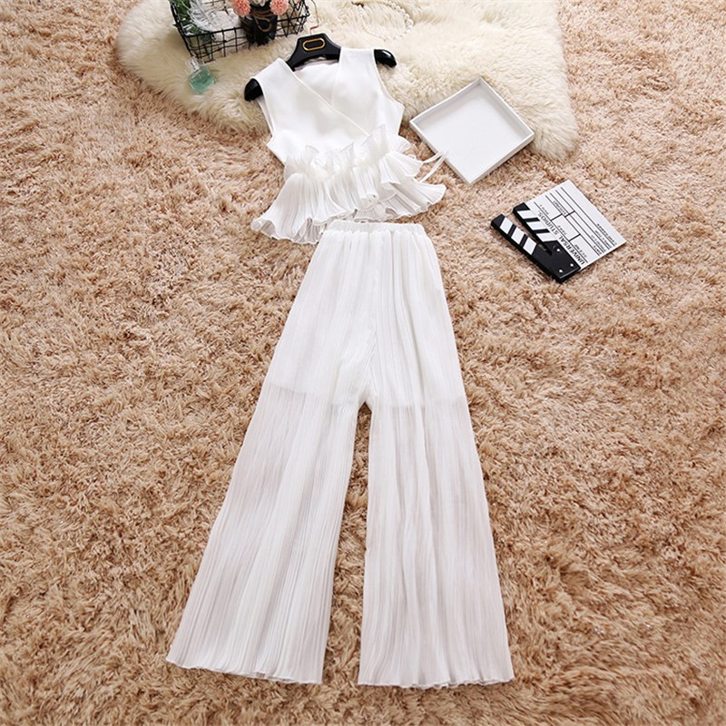 Amolapha Women Summer Soild Chiffon Ruffles Top Wide Leg Pants 2 Pieces Clothing Sets Pretty Chiffon