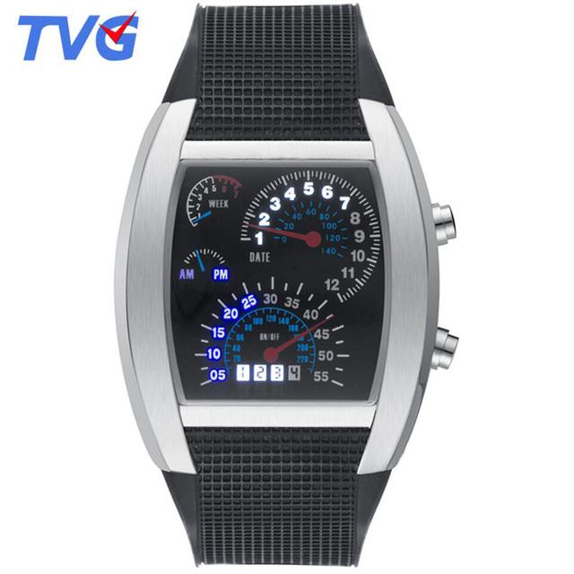 Painel display led relógio digital de tvg homens relógios legal multicolor silicone suave strap sports watch for men presente uhren