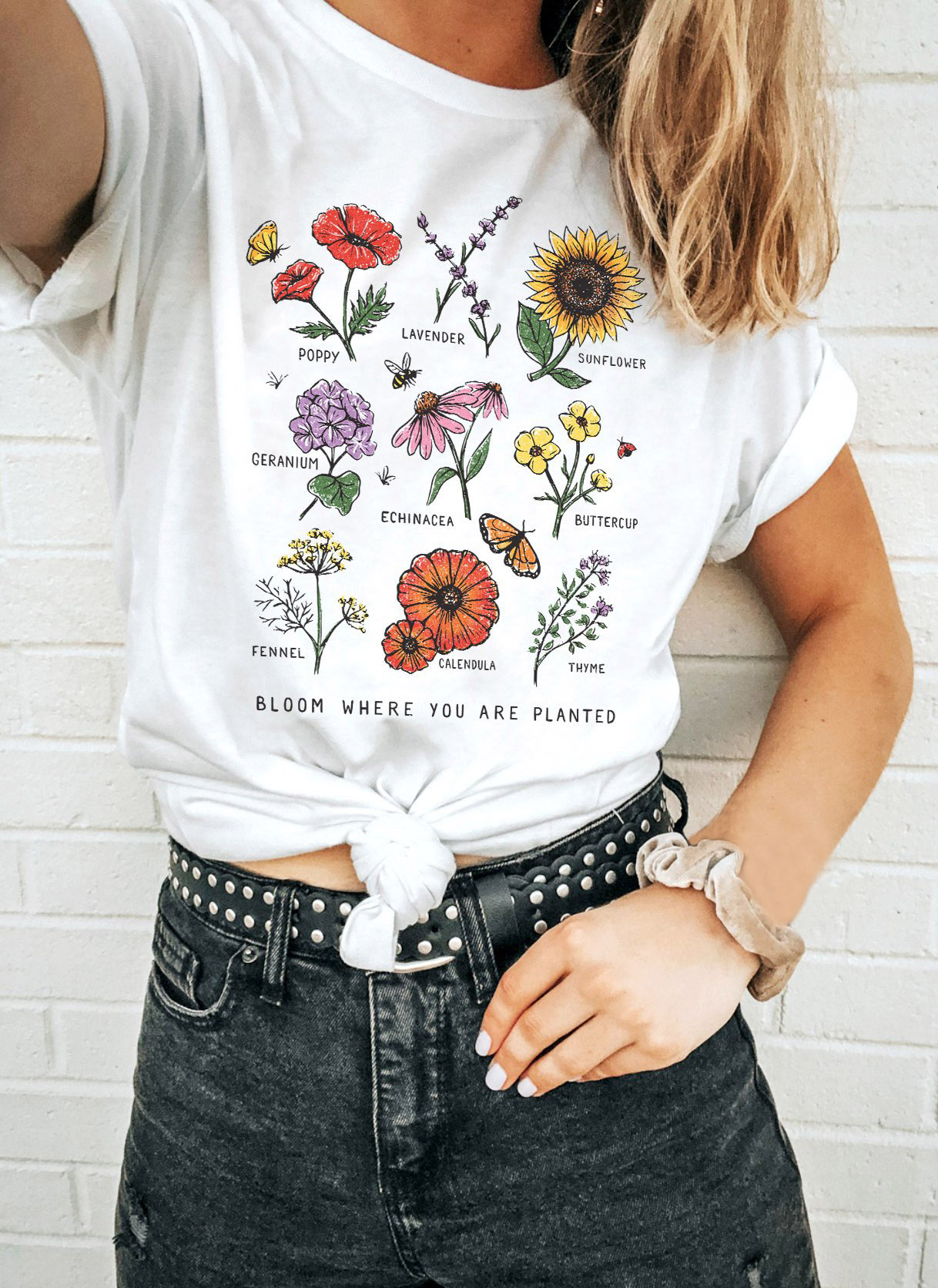 Bloom Where You Are Planted Women T Shirt Summer Sunflower Flower T Shirt Graphic Tee  Hipsters Grunge Top