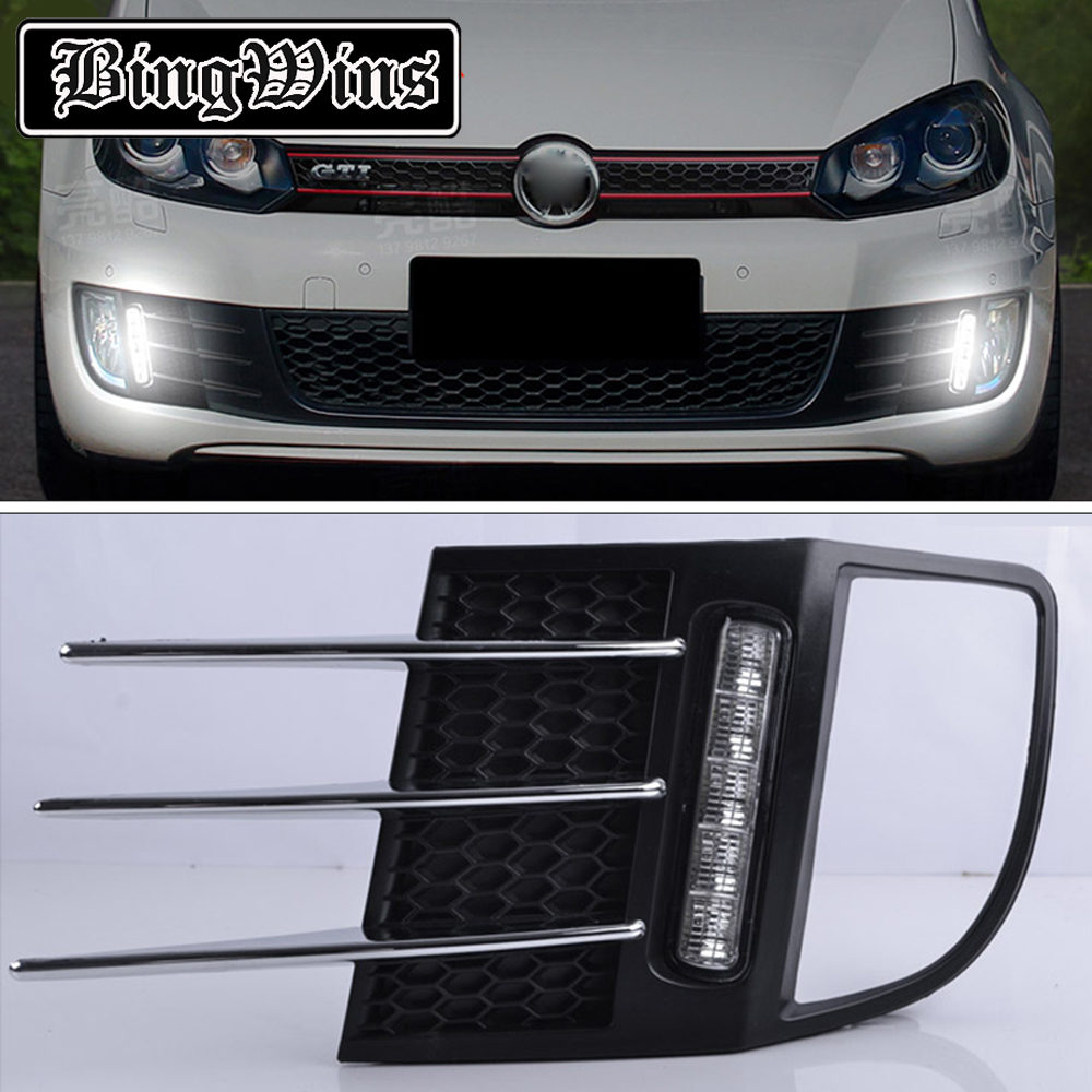 BINGWINS Car styling for 2x Super bright LED DRL Daytime Running Light Fog Lamp Cover For Volkswagen VW Golf 6 MK6 GTI 2009-2013 free shipping super bright for vw jetta daytime lights led drl day fog lamp light for sagitar jetta mk6 11 12 1 1 replacement page 9