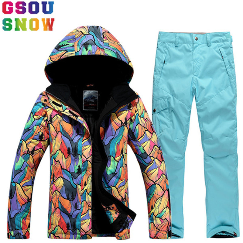 GSOU SNOW Brand Ski Suit Women Ski Jacket Pants Winter Outdoor Waterproof Cheap Skiing Suit Female Snowboard Sets Sport Clothing gsou snow waterproof ski jacket women snowboard jacket winter cheap ski suit outdoor skiing snowboarding camping sport clothing