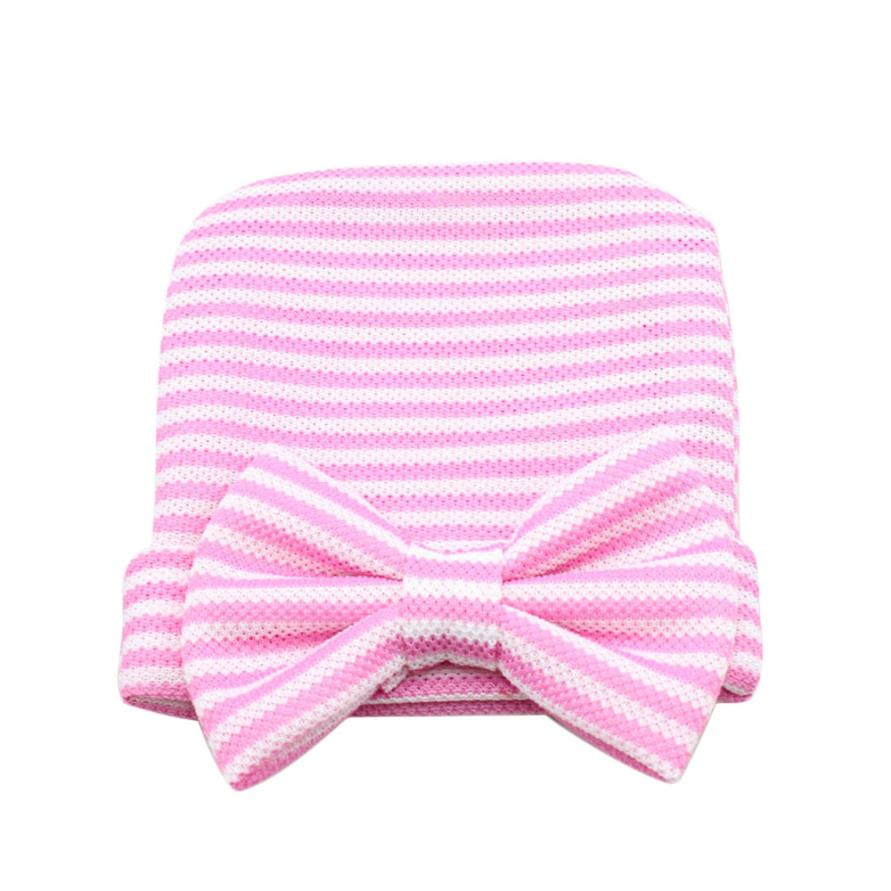 New Newborn Baby Hats Cute Girl Striped Hat Boy Beanie Hospital Hat Bowknot Crochet Knitted Caps Photography Props Costume #JO newborn baby photography props infant knit crochet costume peacock photo prop costume headband hat clothes set baby shower gift
