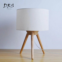 DRS Nordic Wooden Tripod Table Lamps Fabric Lampshade Wood Table Light for Bedroom Bedside Study Room Deco Desk Lights Fixtures