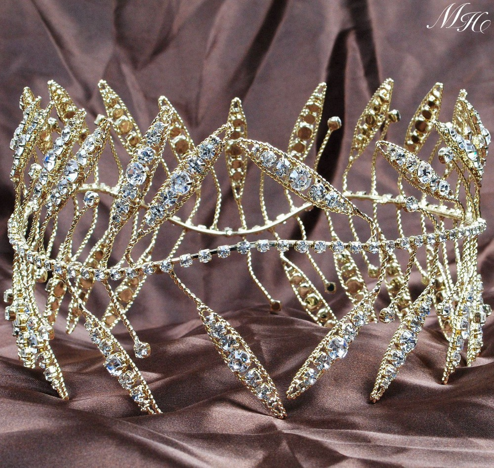 Ancient Greek Wreath Tiaras Bride Diadem Gold Crowns Clear Rhinestones Crystal Wedding Bridal Hairband Pageant Porm Party 00009 red gold bride wedding hair tiaras ancient chinese empress hair piece