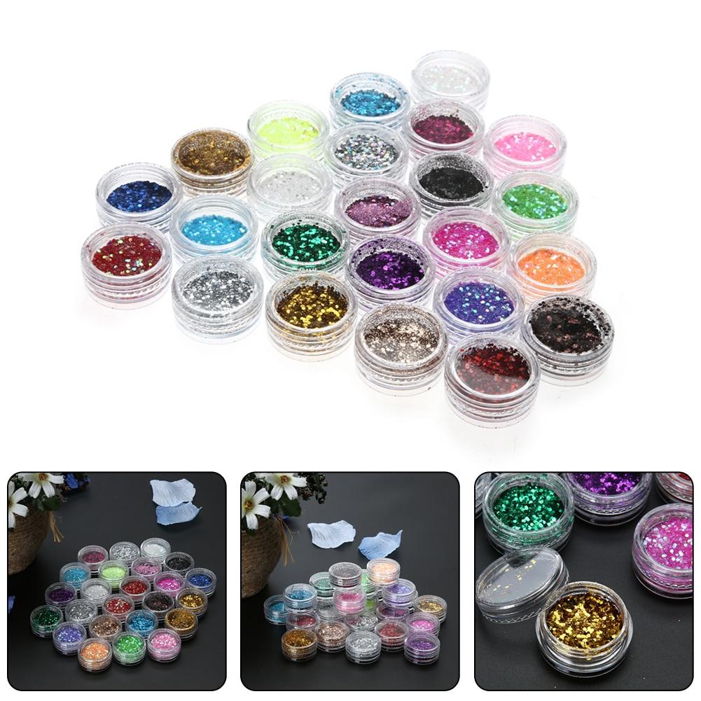 24 Colors Nail Art Glitter Powder Dust Decoration Kit For Acrylic Tips Uv Gel Diy Drop
